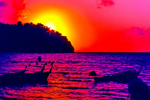Stylized sunset in Loh Dalam Bay, Koh Phi Phi Don, Thailand