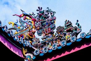 Detail of the roof of a Chinese Temple in Georgetown, Penang, Malaysia.