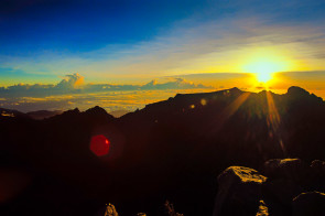 This was the only photo I took of the sunrise on Mount Kinabalu that actually shows the sun!