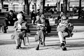 Ladies reading on a park bench on a sunny Sunday afternoon. Paris, 1998.