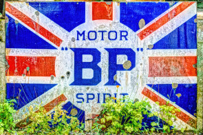 An enamel BP Motor Spirit sign from the 1920's at the Cotswold Motor Museum, Bourton on the Water, England.
