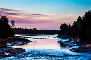 Chandler River at Twilight from the Harrington Road bridge, Jonseboro, Maine.