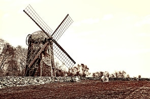 The Jamestown Windmill is a 30-foot high smock mill built in 1787.