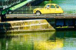 Deux Chevaux a Paris, on he Pont Dieu over the Canal Saint Martin,