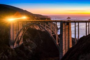 Cars approaching Bixby Bridge on California State Highway 1